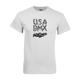 White T Shirt-White USA BMX Chain Letters