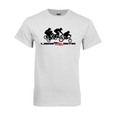 White T Shirt-Flag Logo with Riders