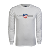 White Long Sleeve T Shirt-USA BMX w/Flag Shield