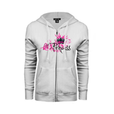 ENZA Ladies White Fleece Full Zip Hoodie-BMX Princess Girls Rule