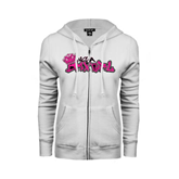 ENZA Ladies White Fleece Full Zip Hoodie-White USA BMX Girl