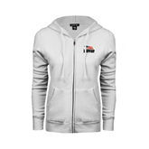 ENZA Ladies White Fleece Full Zip Hoodie-Flag on Stacked USA BMX