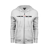 ENZA Ladies White Fleece Full Zip Hoodie-USA BMX w/Riders Between