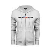 ENZA Ladies White Fleece Full Zip Hoodie-USA BMX w/Flag In Between
