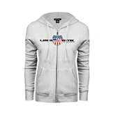 ENZA Ladies White Fleece Full Zip Hoodie-USA BMX w/Flag Shield
