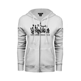 ENZA Ladies White Fleece Full Zip Hoodie-We R Family