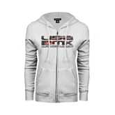 ENZA Ladies White Fleece Full Zip Hoodie-USA BMX Red/Black Pattern