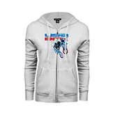 ENZA Ladies White Fleece Full Zip Hoodie-USA BMX w/2 Riders