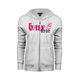 ENZA Ladies White Fleece Full Zip Hoodie-BMX Babe