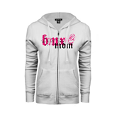 ENZA Ladies White Fleece Full Zip Hoodie-BMX Mom