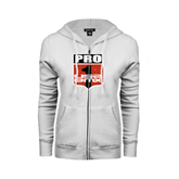 ENZA Ladies White Fleece Full Zip Hoodie-PRO 1 USA BMX Shield Distressed