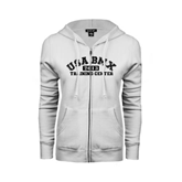 ENZA Ladies White Fleece Full Zip Hoodie-Arched USA BMX 2014 Training Center