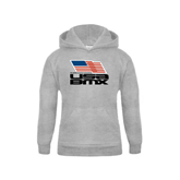 Youth Grey Fleece Hood-Flag on Stacked USA BMX
