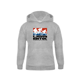 Youth Grey Fleece Hood-Riders on Stacked USA BMX