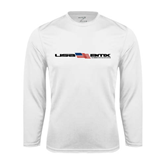 Syntrel Performance White Longsleeve Shirt-USA BMX w/Flag In Between