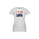 Youth Girls White Fashion Fit T Shirt-Riders on Stacked USA BMX