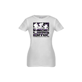 Youth Girls White Fashion Fit T Shirt-Riders on Stacked USA BMX Purple/Black Pattern