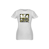 Youth Girls White Fashion Fit T Shirt-Riders on Stacked USA BMX Yellow/Black Pattern