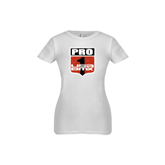 Youth Girls White Fashion Fit T Shirt-PRO 1 USA BMX Shield Distressed