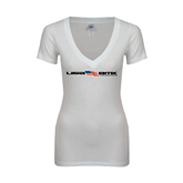 Next Level Ladies Junior Fit Deep V White Tee-USA BMX w/Flag In Between