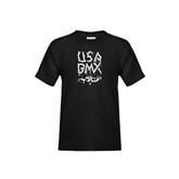 Youth Black T Shirt-Black USA BMX Chain Letters