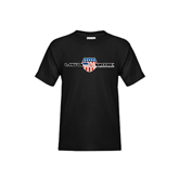 Youth Black T Shirt-USA BMX w/Flag Shield