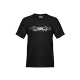Youth Black T Shirt-USA BMX w/Flag and Swirls
