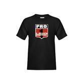 Youth Black T Shirt-PRO 1 USA BMX Shield Distressed
