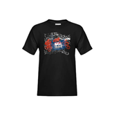 Youth Black T Shirt-USA BMX Swirl Design