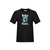 Youth Black T Shirt-BMX Racer