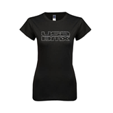 Next Level Ladies Softstyle Junior Fitted Black Tee-Stacked USA BMX Rhinestones