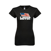 Next Level Ladies Softstyle Junior Fitted Black Tee-Flag on Stacked USA BMX