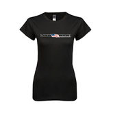 Next Level Ladies Softstyle Junior Fitted Black Tee-USA BMX w/Flag In Between