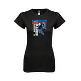 Next Level Ladies Softstyle Junior Fitted Black Tee-USA BMX w/2 Riders