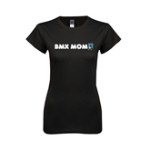 Next Level Ladies Softstyle Junior Fitted Black Tee-BMX Mom