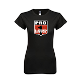 Next Level Ladies Softstyle Junior Fitted Black Tee-PRO 1 USA BMX Shield Distressed