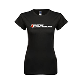 Next Level Ladies Softstyle Junior Fitted Black Tee-Stacked BMX Canada w/Leaf