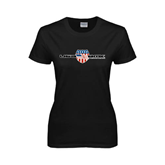 Ladies Black T Shirt-USA BMX w/Flag Shield