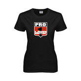 Ladies Black T Shirt-PRO 1 USA BMX Shield