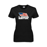 Ladies Black T Shirt-Flag on Stacked USA BMX