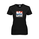 Ladies Black T Shirt-Riders on Stacked USA BMX