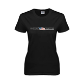 Ladies Black T Shirt-USA BMX w/Flag In Between