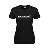 Ladies Black T Shirt-BMX Mom