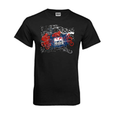 Black T Shirt-USA BMX Swirl Design