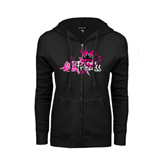 ENZA Ladies Black Fleece Full Zip Hoodie-Black BMX Princess Girls Rule