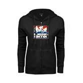 ENZA Ladies Black Fleece Full Zip Hoodie-Riders on Stacked USA BMX