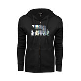 ENZA Ladies Black Fleece Full Zip Hoodie-Flag on Stacked USA BMX