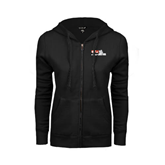 ENZA Ladies Black Fleece Full Zip Hoodie-Stacked BMX Canada w/Riders