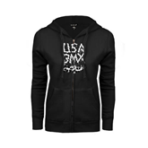 ENZA Ladies Black Fleece Full Zip Hoodie-Black USA BMX Chain Letters