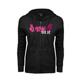 ENZA Ladies Black Fleece Full Zip Hoodie-BMX Babe